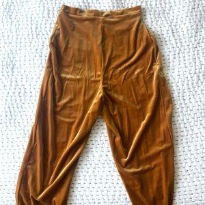 Handmade gold velvet pants ankle crop taper small